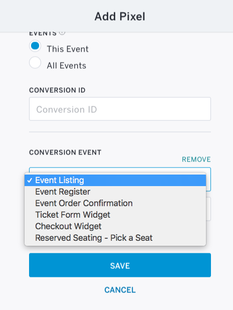Clicking on Event Listing will bring up a drop-down with 6 options: Event Listing, Event Register, Event Order confirmation, Ticket Form Widget, Checkout Widget, and Reserved Seating - Pick a Seat.
