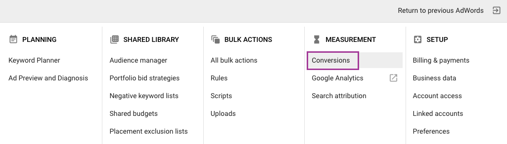Conversions is the second option in the Tools dropdown.