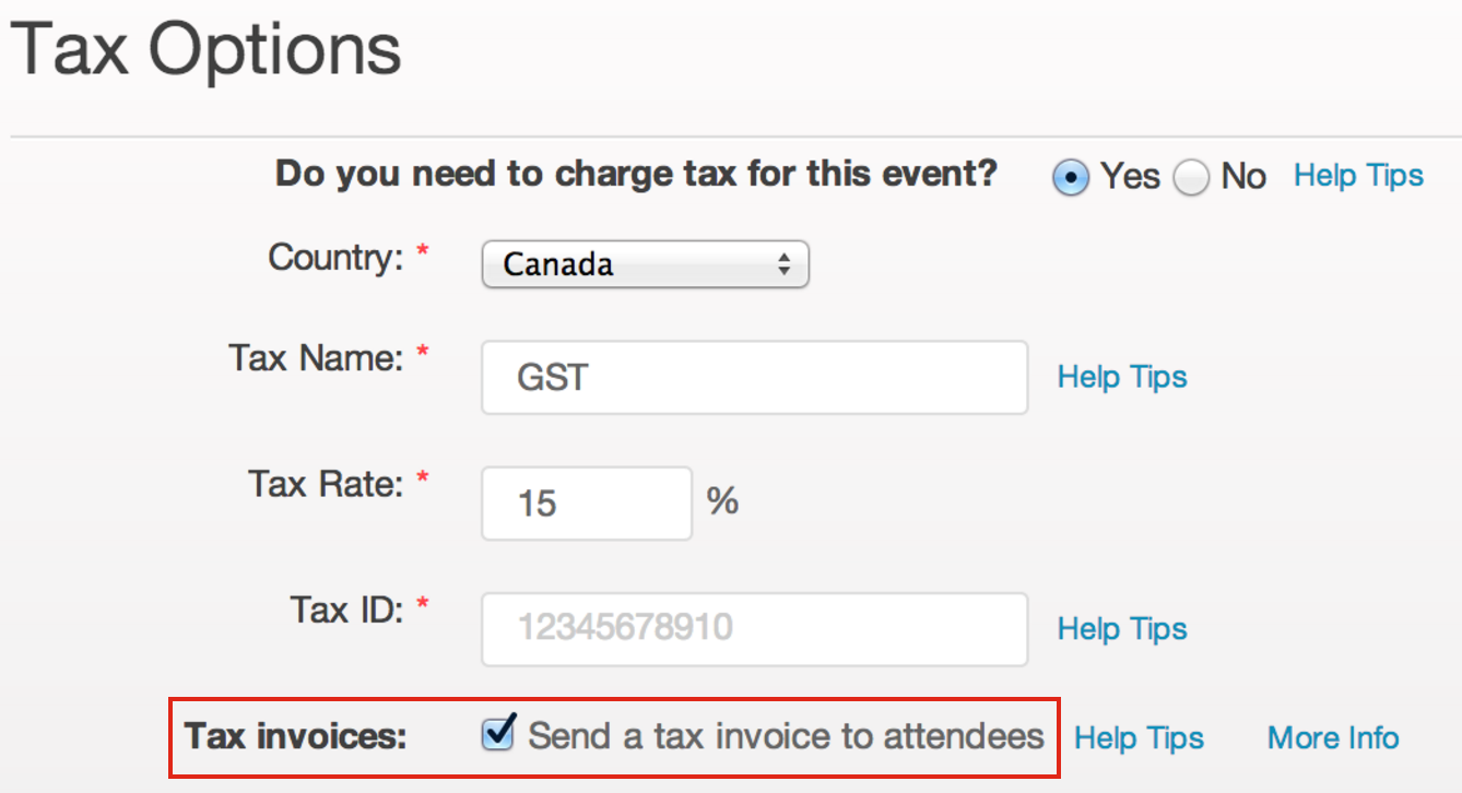 How to charge tax on tickets and provide attendee tax invoices