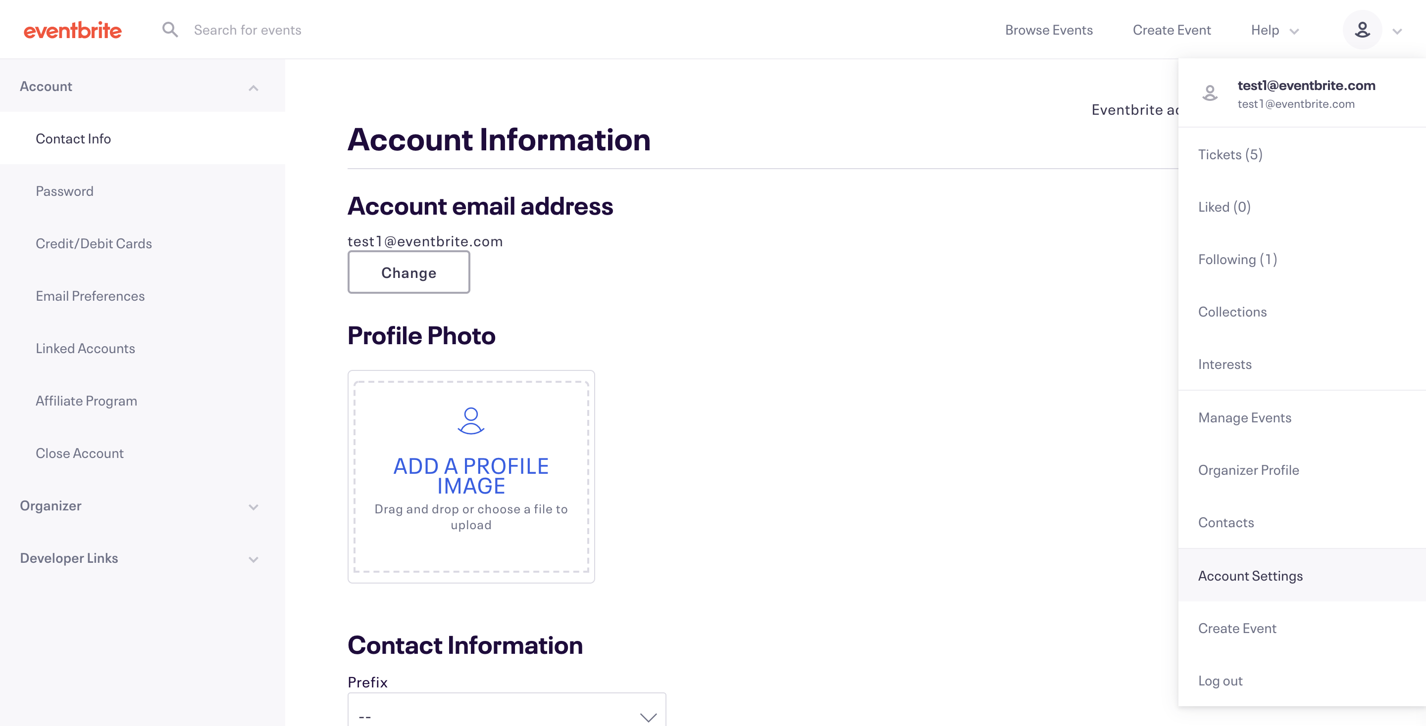 The account menu is located in the upper right corner under your name, and  Account