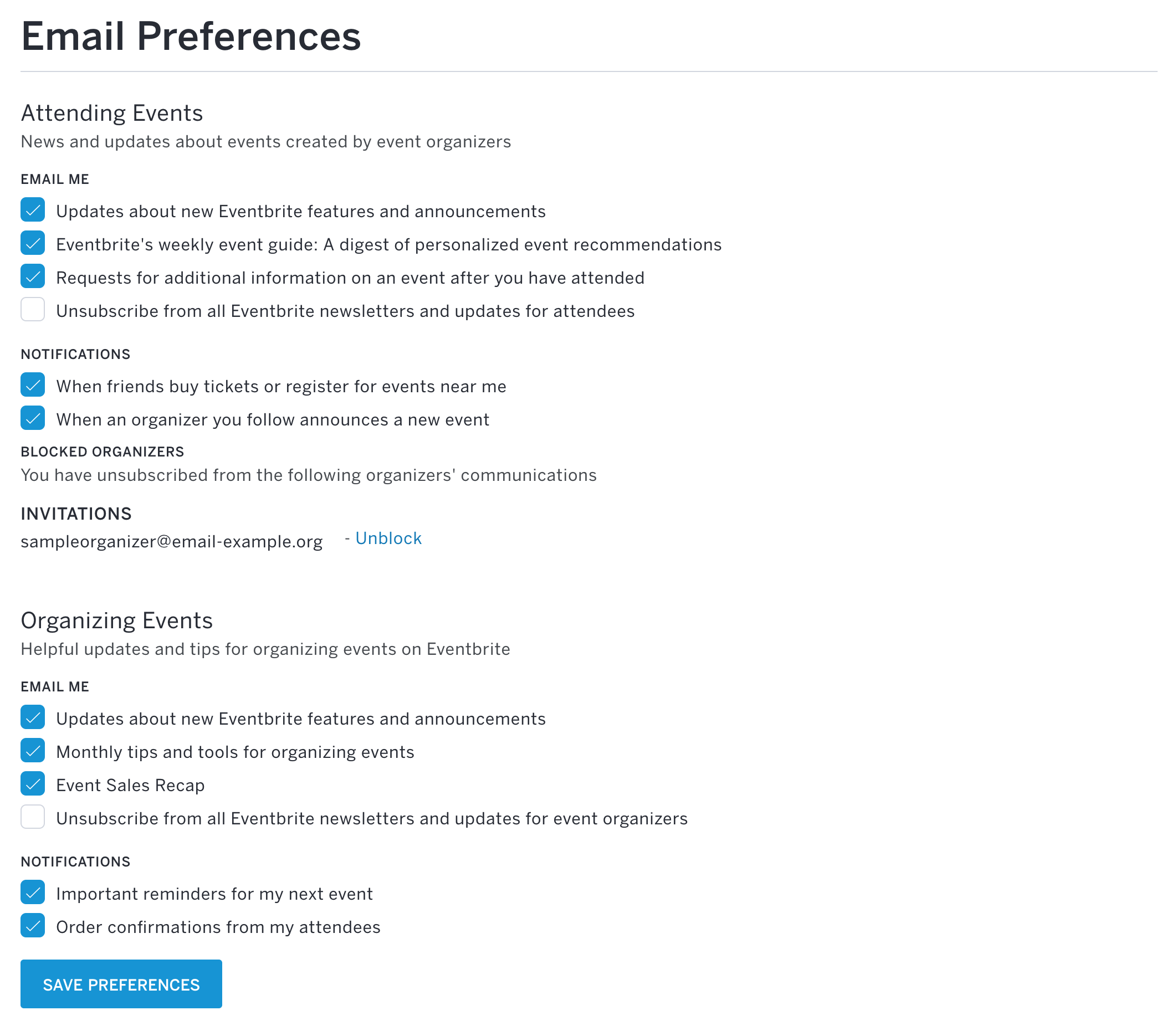 How To Manage Your Email Preferences Eventbrite Help Center