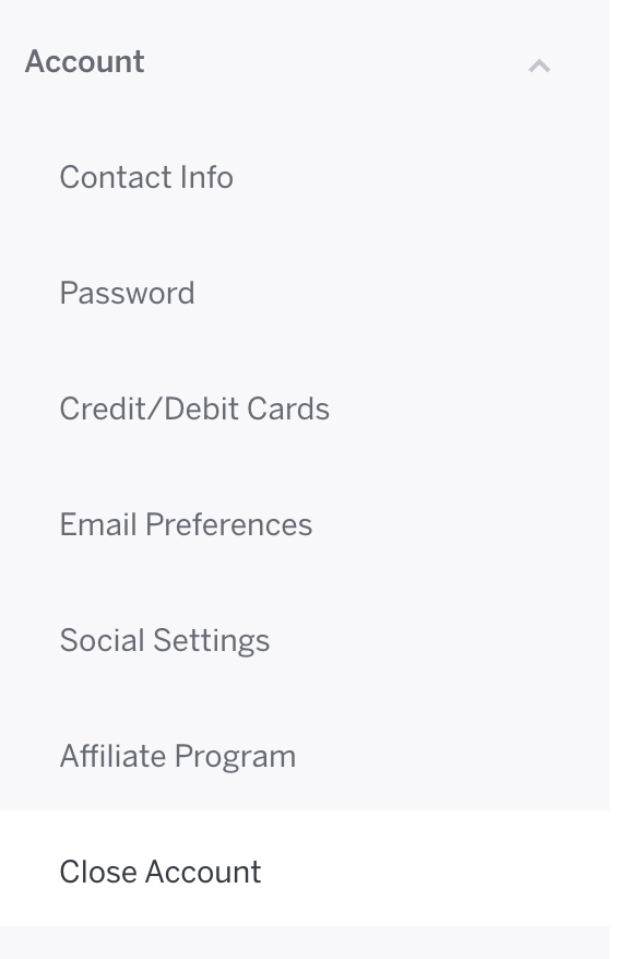 Account Settings is at the top of the options menu, and Close Account is the last option.