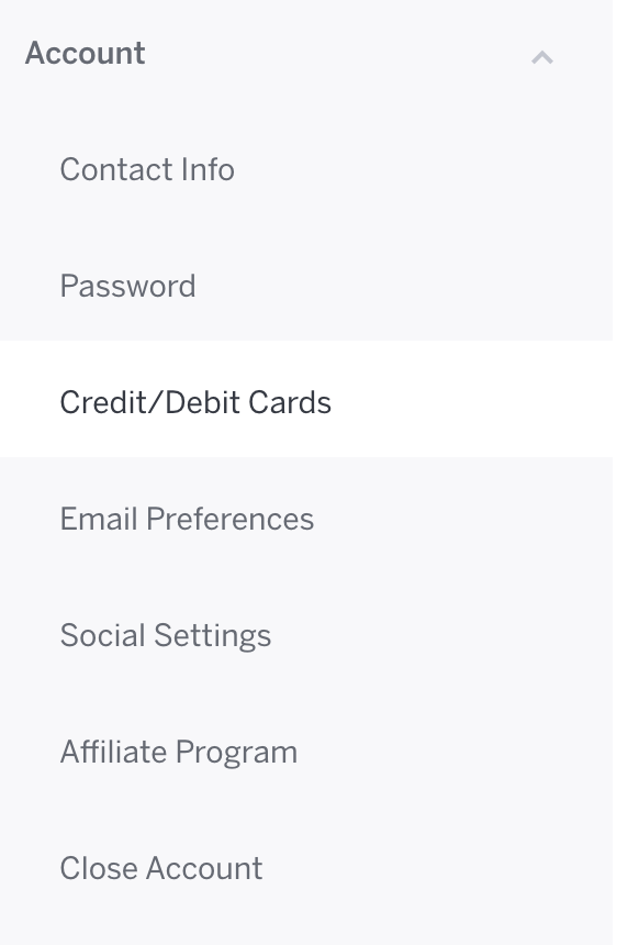 Account Settings is in the top of the options menu, and Credit Cards is the fourth option.