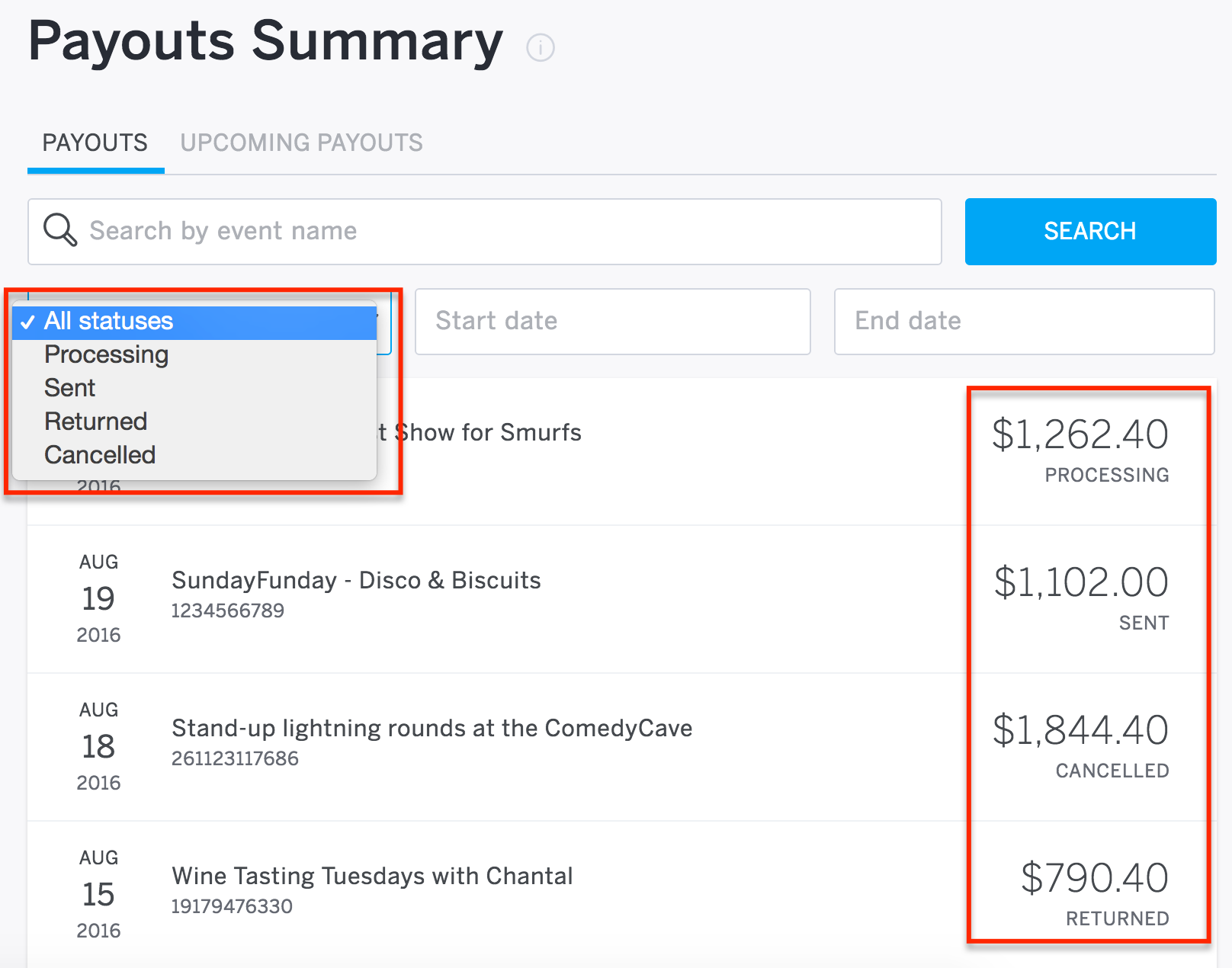 How to see the status of your payout | Eventbrite Help Center