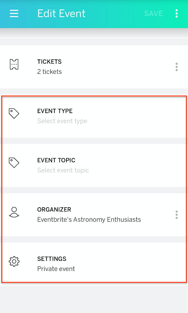 fling consist of how many events in android lappi