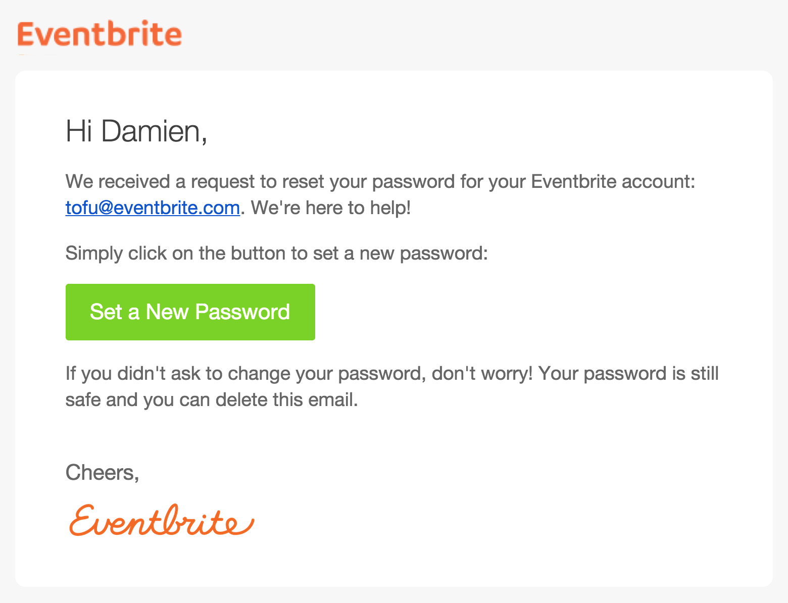 How to reset your password | Eventbrite Help Centre