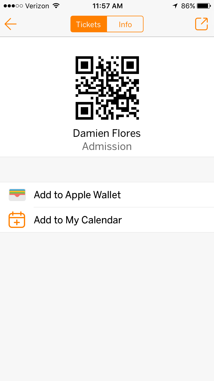 Add to Wallet option in the Eventbrite app.