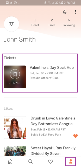Image of the profile tab highlighting a purchased ticket.