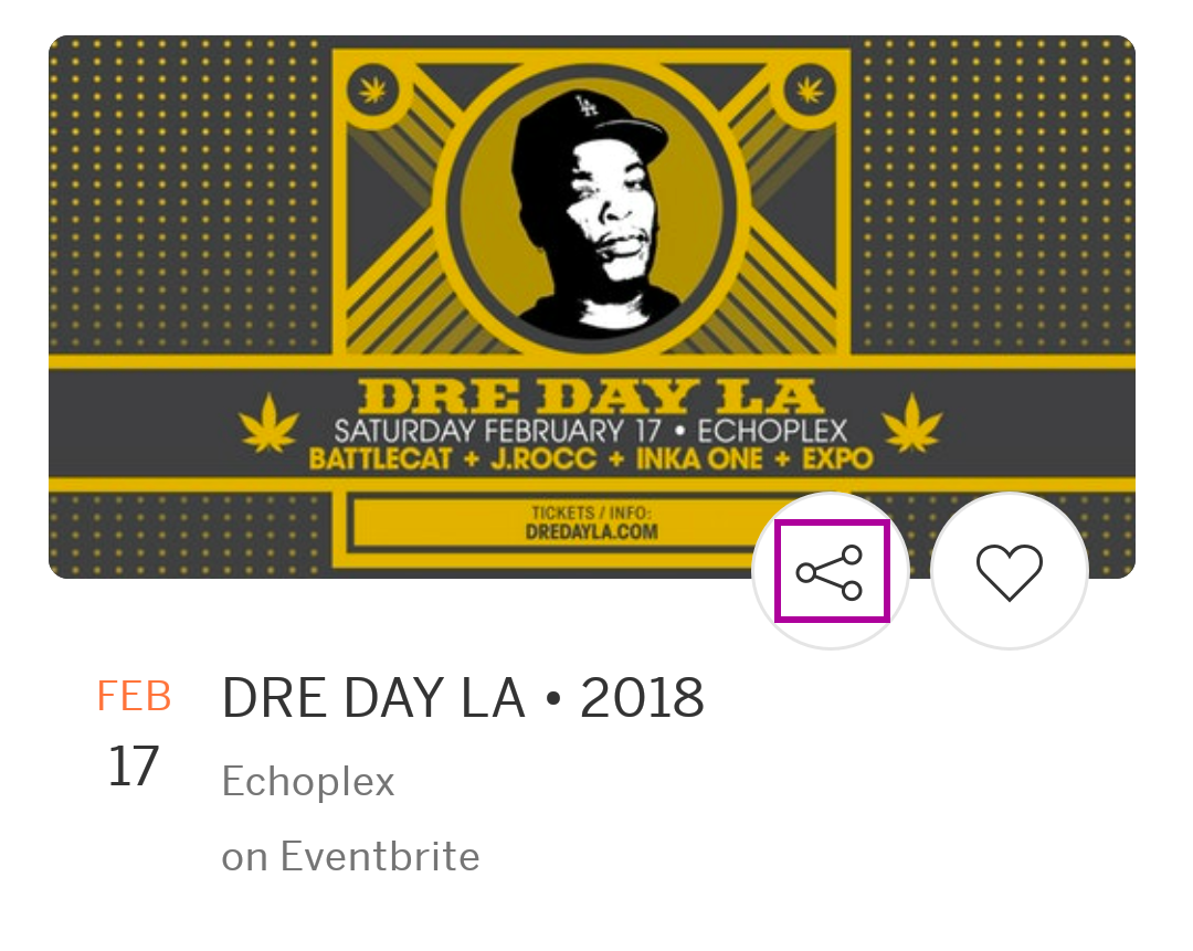 "Image of the ""Share"" button on an event listing."