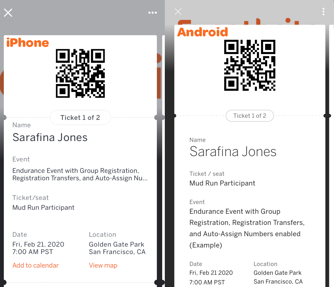 Eventbrite app tickets have a unique data recognition (QR-like) code. Tickets show the Event Name/Title, Ticket Info, Order Info, Ticket Type registered, Attendee Name, and if using reserved seating, the attendee's seat assignment.
