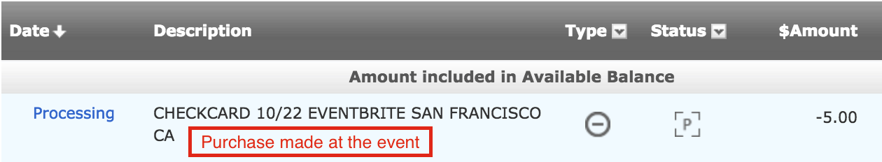 "If the purchase was made on-site at an event, the EB *Charge typically includes ""EVENTBRITE"" and ""SAN FRANCISCO, CA."""