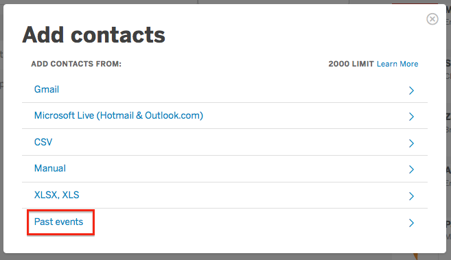 "Past Events is the last option in the ""Add contacts"" window."