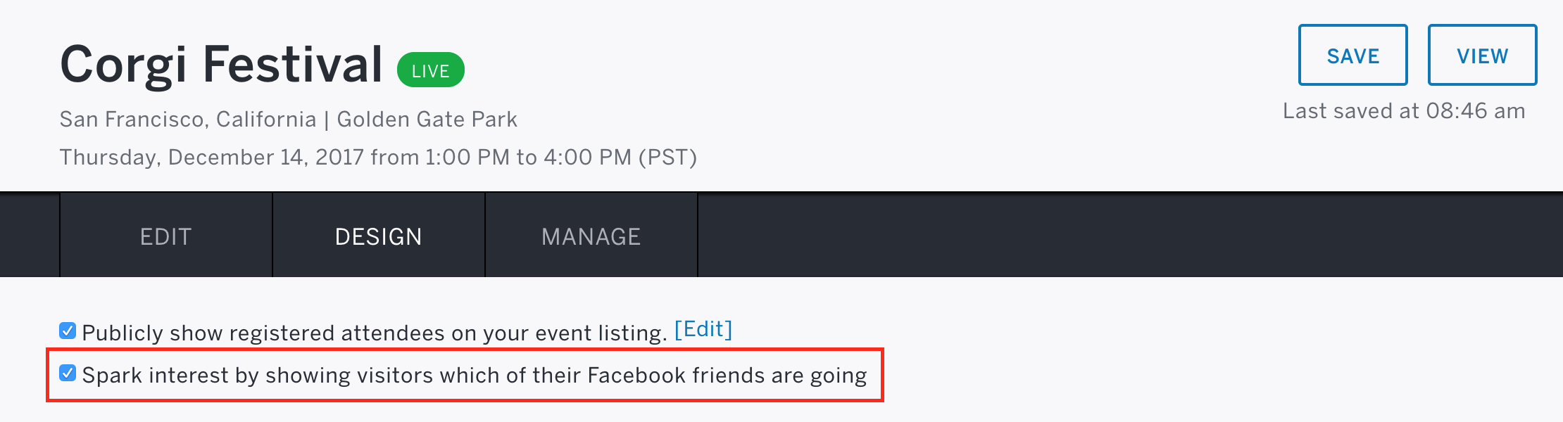 The checkbox to allow visitors to see which of their Facebook friends are going is located under the Choose a theme section.