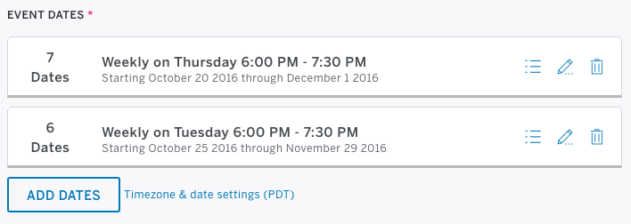 how to set up an event schedule with multiple dates eventbrite
