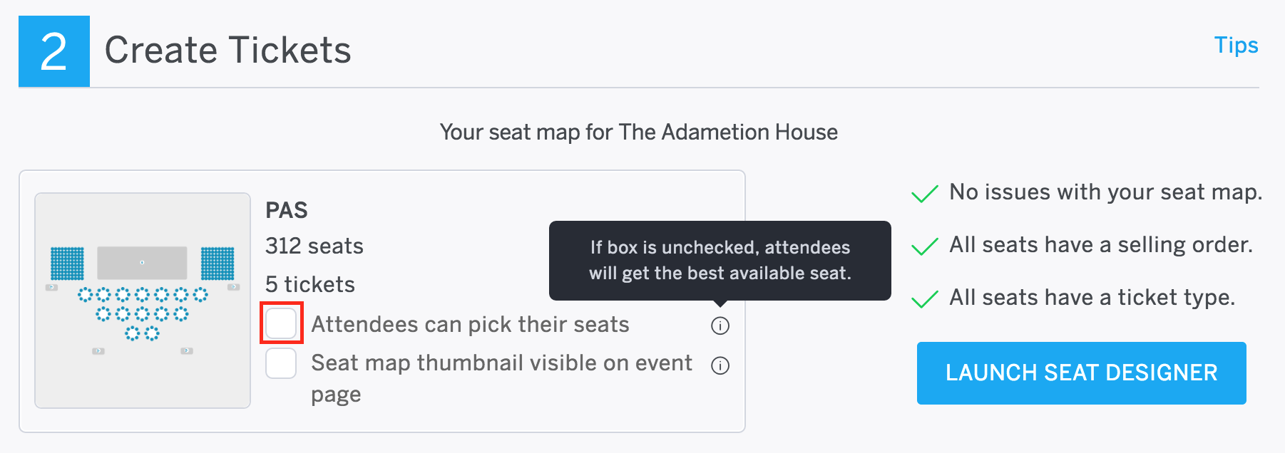 getting started with reserved seating and the eventbrite venue optional allow attendees to pick their seats