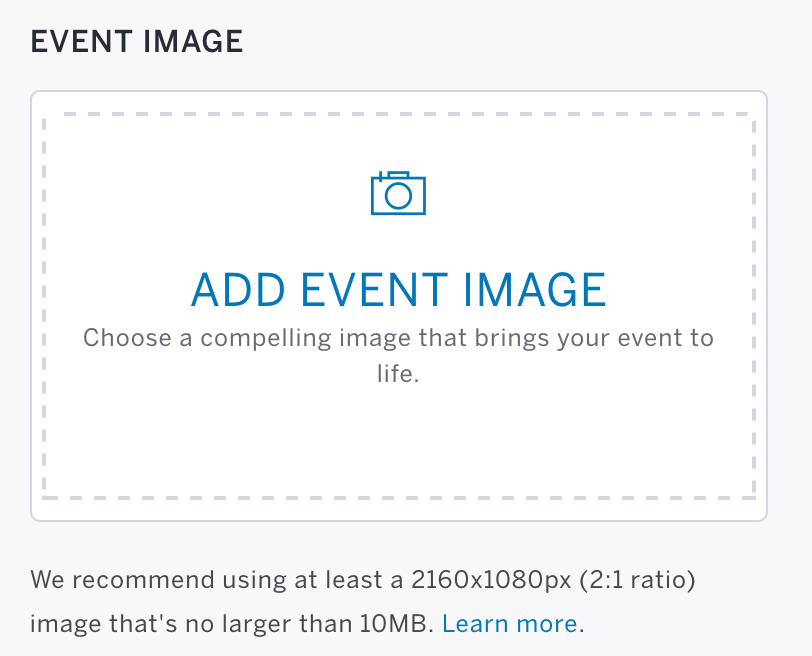 Step 1: Event Details is the first step on the Edit page. Event Image is located between the Start/End time and the Event Description sections.