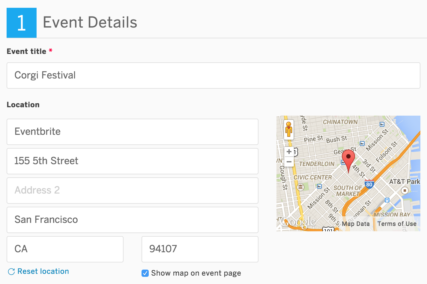 "Screenshot of Eventbrite's Edit Page, Step 1 ""Event Details."""