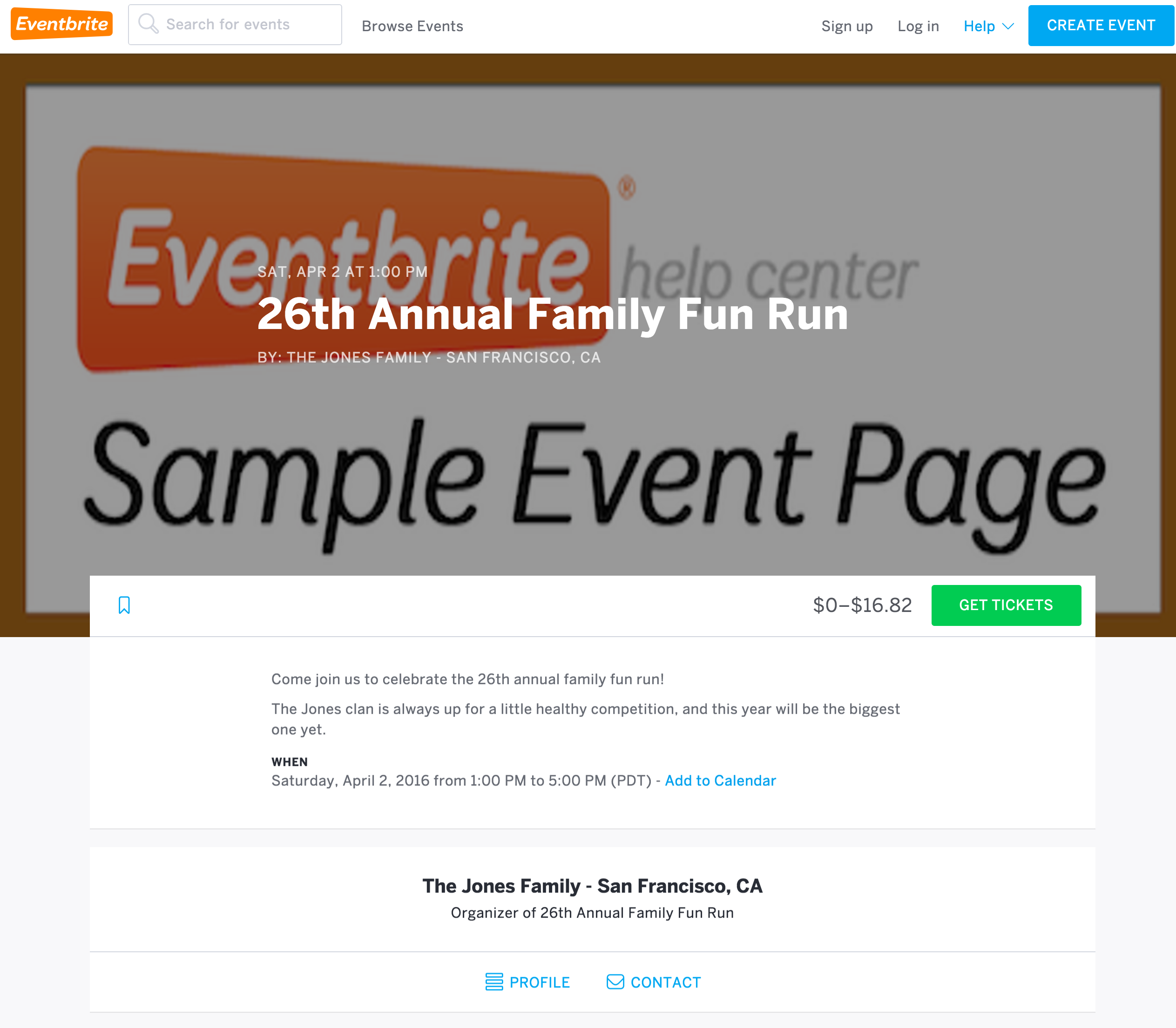 The button for registration (commonly labeled Tickets or Register) is located in the Ticket Information section of the event listing, next to the ticket price or range of prices depending on the organizer's event settings.