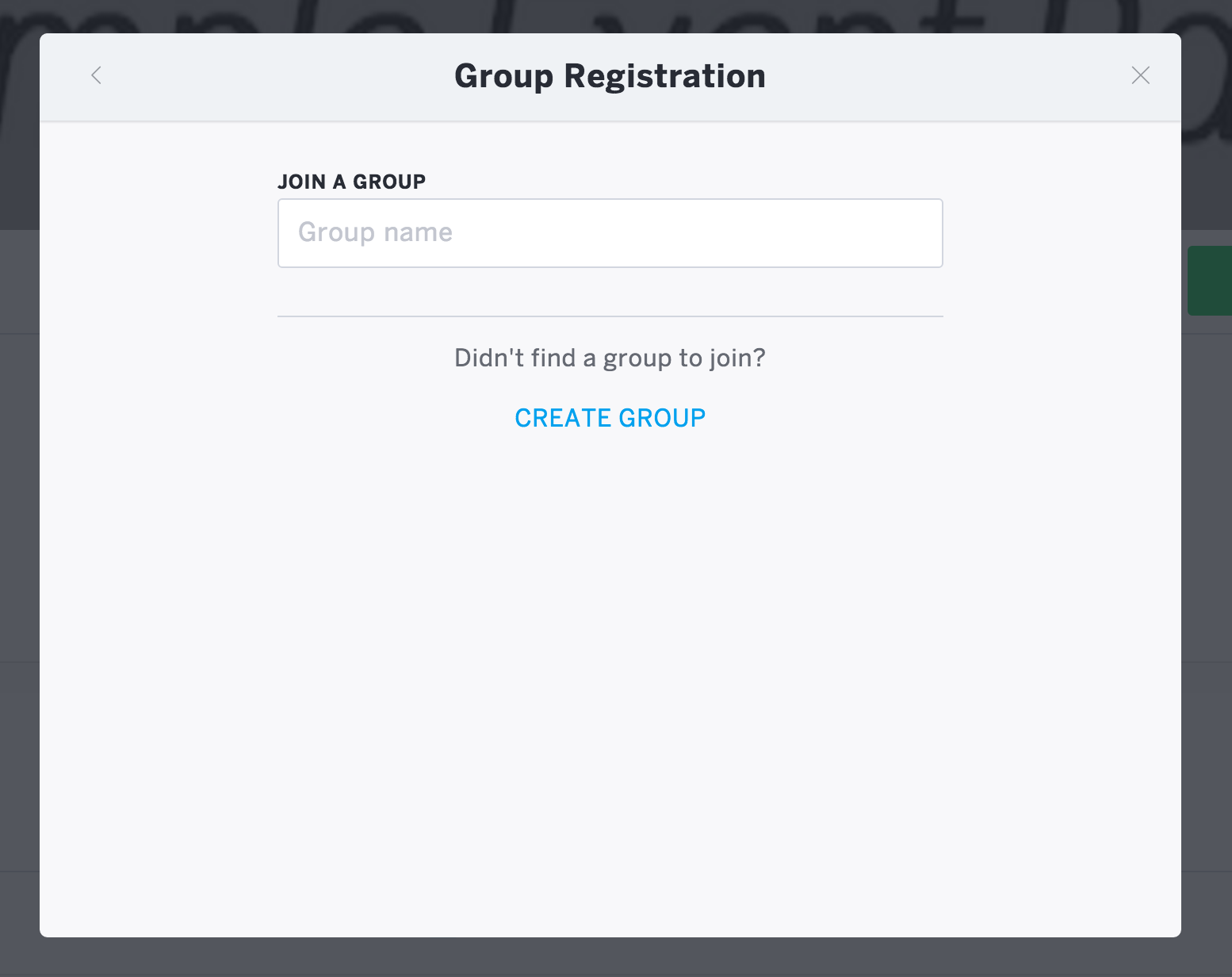 """""""Create Group"""" is a link at the bottom of the """"Group Registration"""" form."""