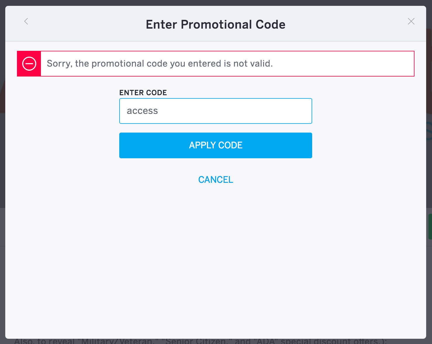 Creating a coupon code i will now explain the setup step by step - An Error Message With A Circled Minus Symbol Shows When An Invalid Discount Or Access Code