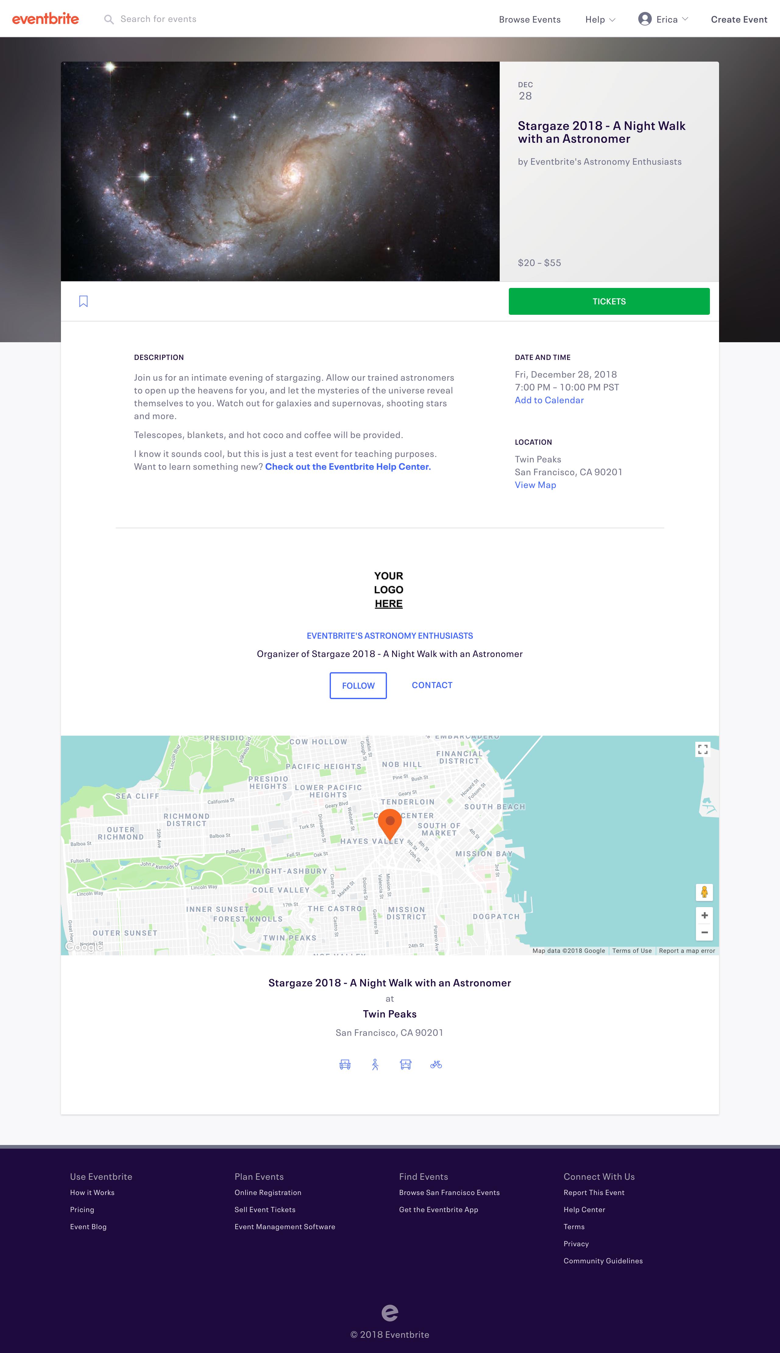 Eventbrite event listing created by the event organizer. Attendees go here to view the details of an event and complete registration.