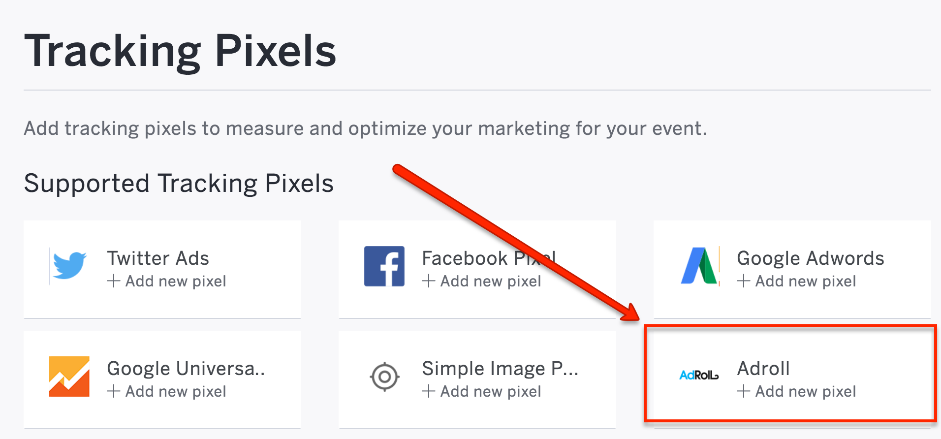 """Select the """"AdRoll"""" tracking pixel button."""
