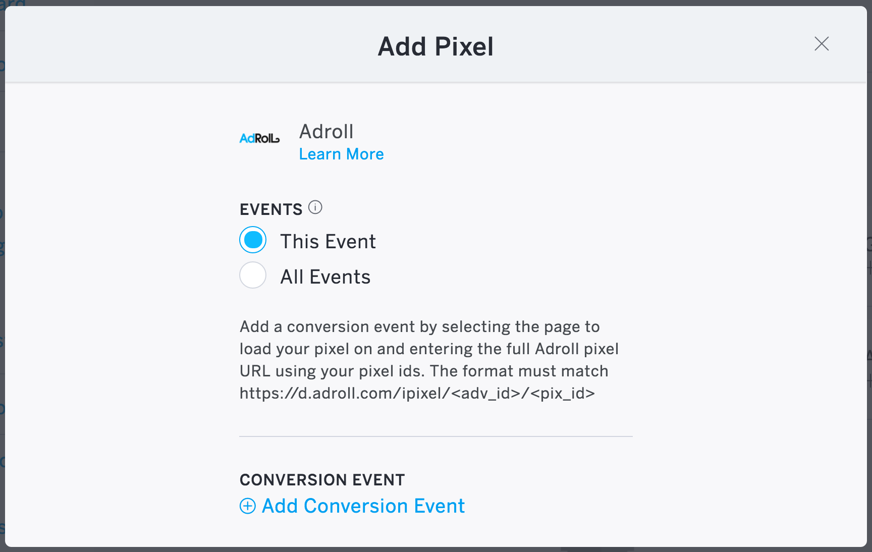"""Apply the tracking pixel to """"This Event"""" or """"All Events""""."""