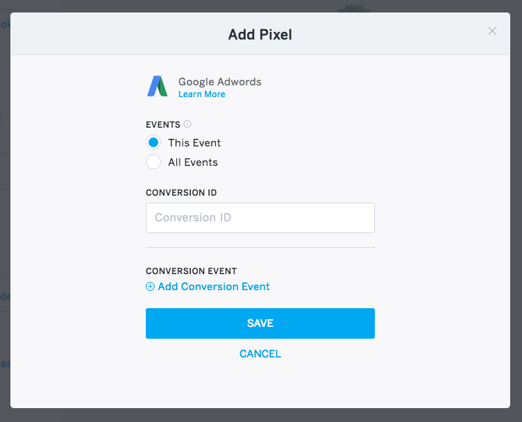 """The Conversion ID field is the text box in the middle of the """"Add Pixel"""" page."""