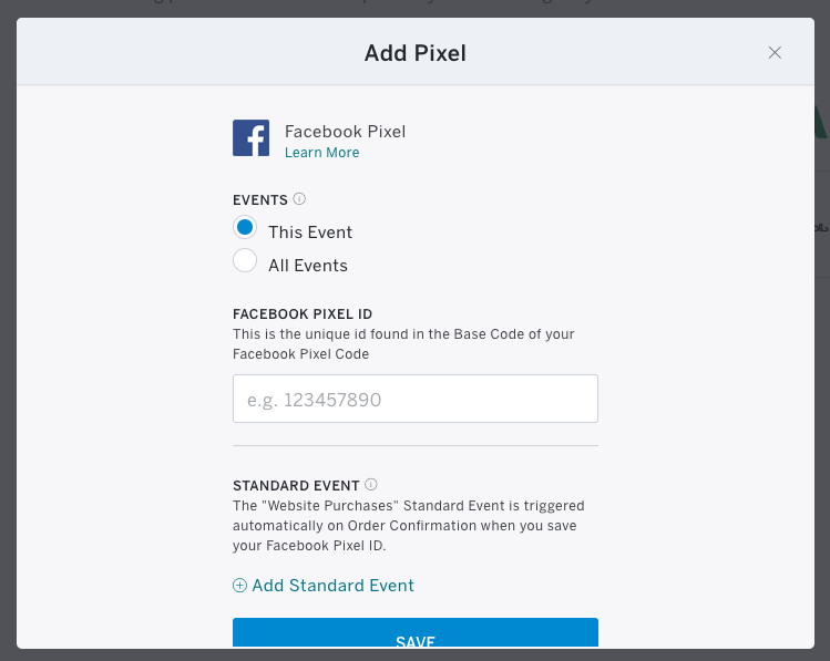 Copy and paste your Facebook Pixel ID.