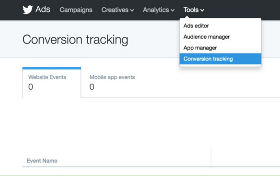 Conversion Tracking is the last option in the Tools dropdown.