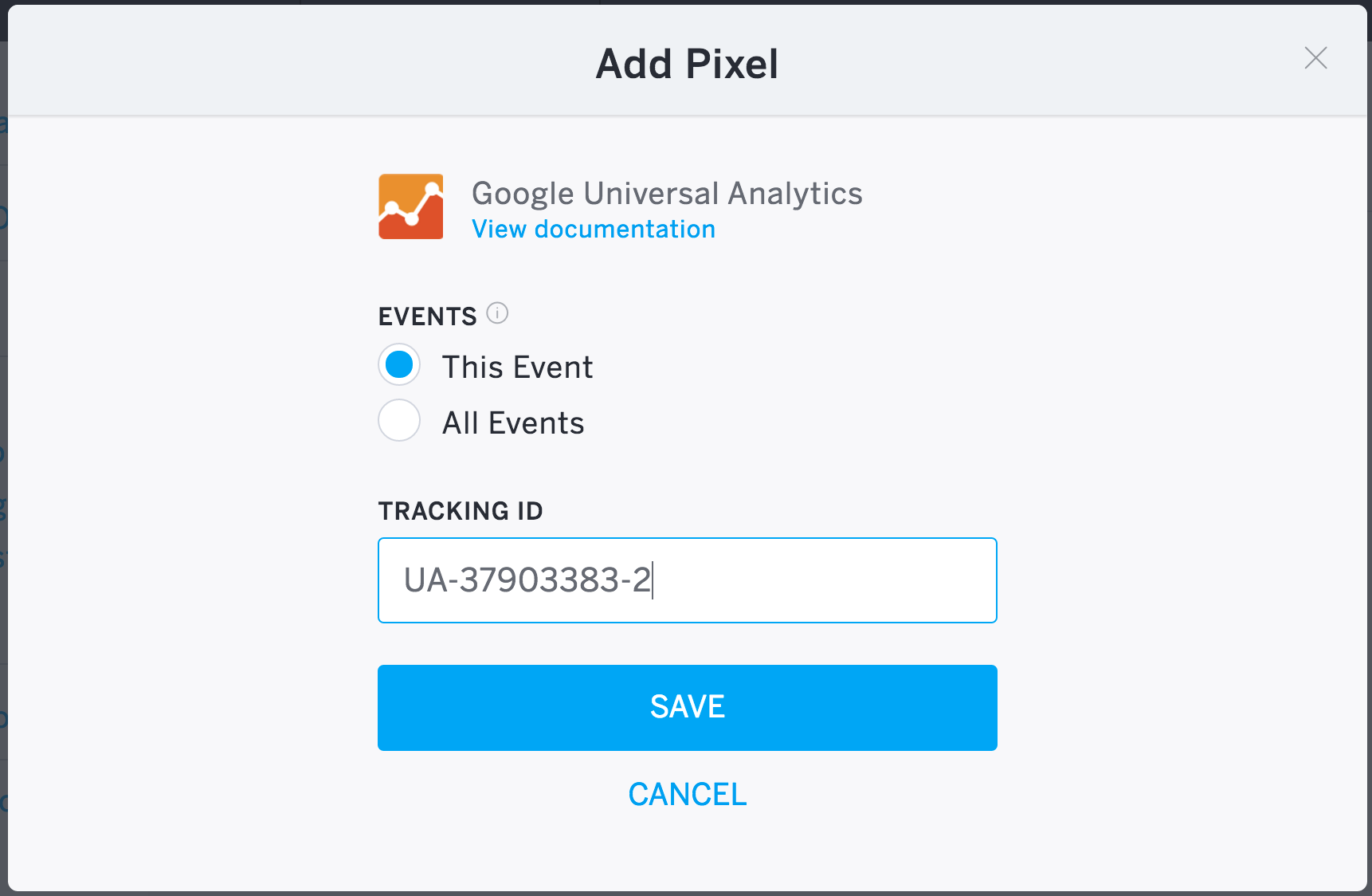 Alt Text: Screenshot of the pop-up window, where you need to add your Google Universal Analytics Tracking ID