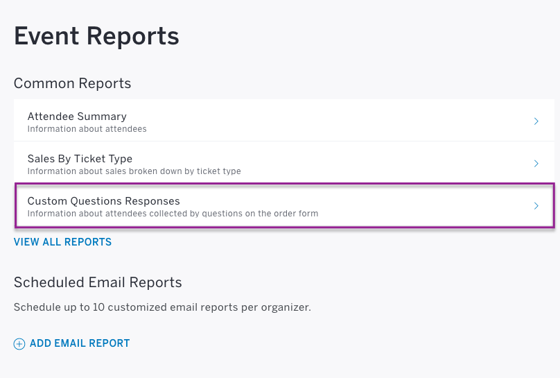how to view responses to custom questions eventbrite help center