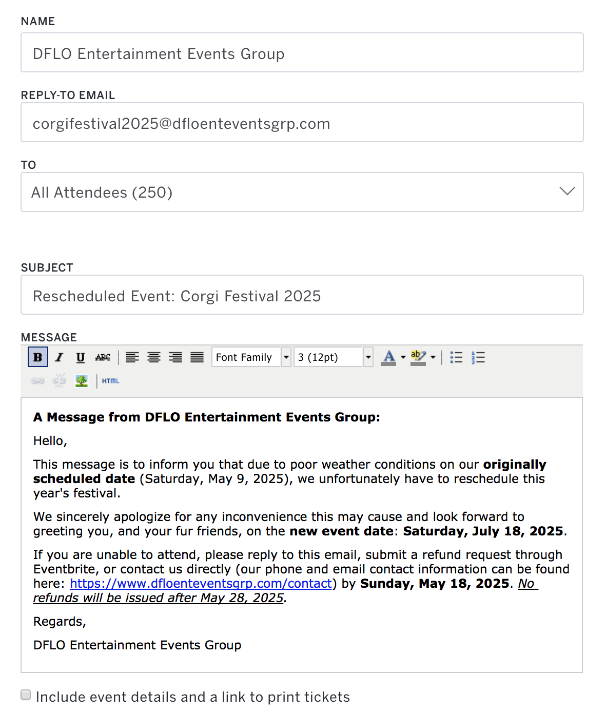 reschedule meeting email template - how to postpone and reschedule an event eventbrite help