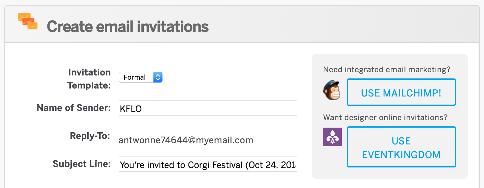 How to create and send email invitations for your event update the fields above the invitation preview stopboris Image collections