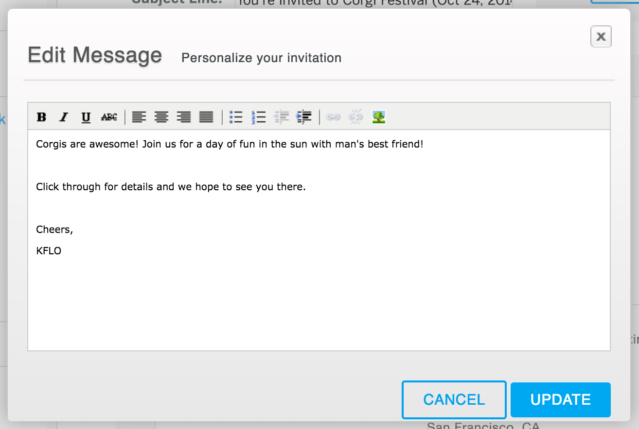 How to create and send email invitations for your event 5 select edit message stopboris Choice Image