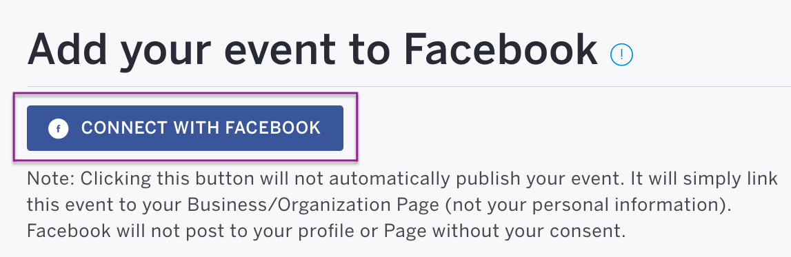 Connect with Facebook appears below the Add to Facebook heading. Click to log in using your Facebook log-in email and password.