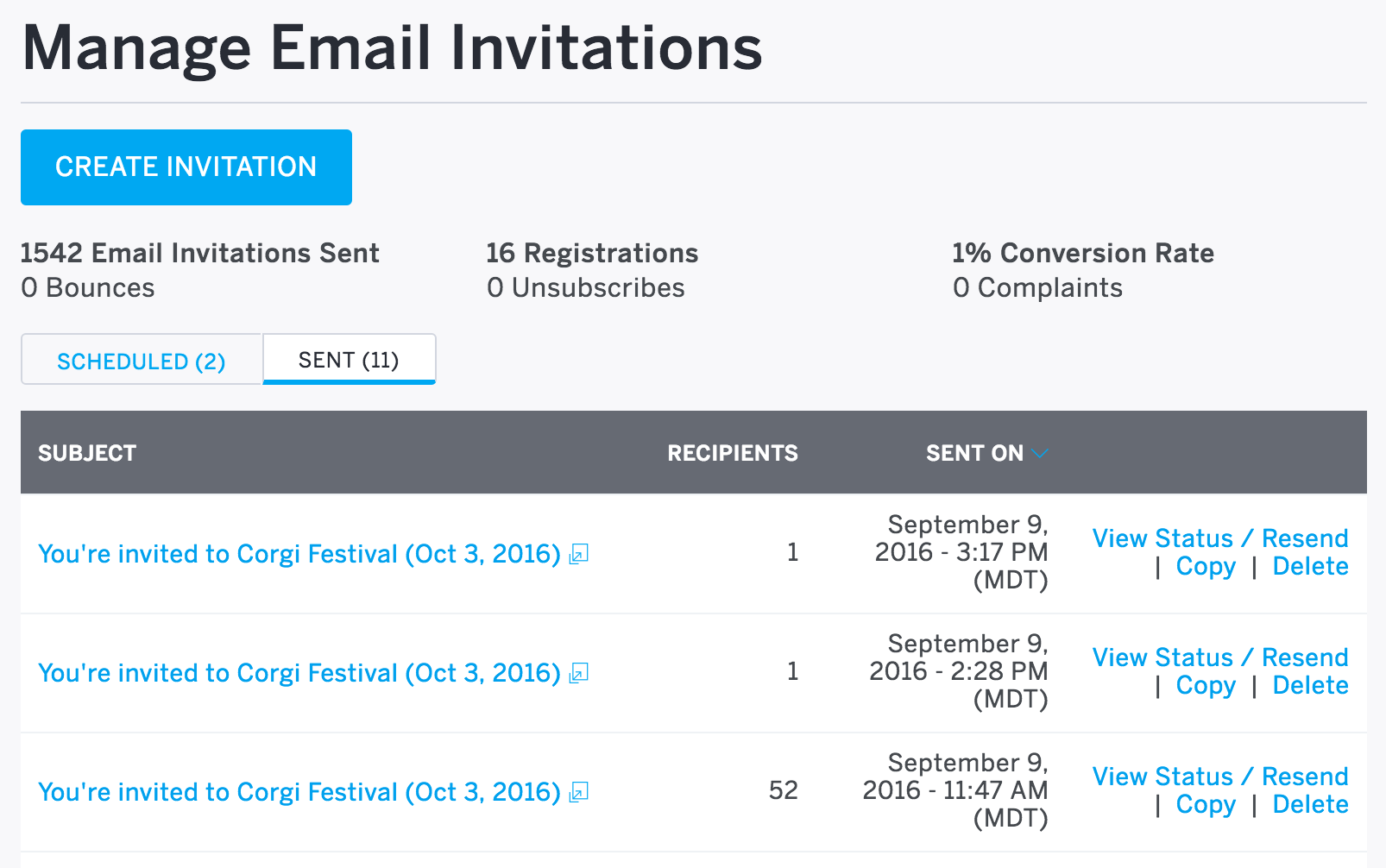 How to create and send email invitations for your event eventbrite resend a previously sent invitation view copy edit and add new guests stopboris
