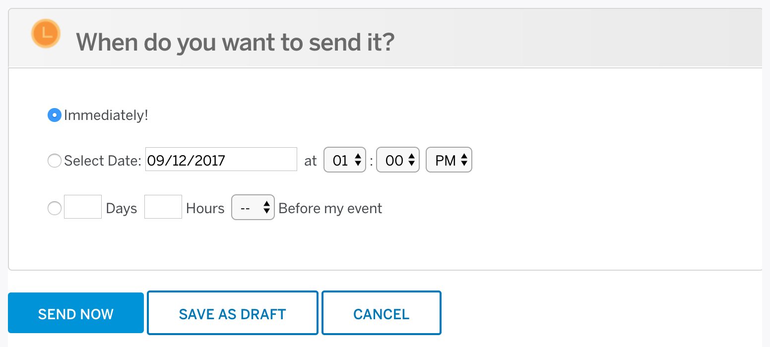 How to create and send email invitations for your event eventbrite select when youd like to send your email invitation stopboris Images