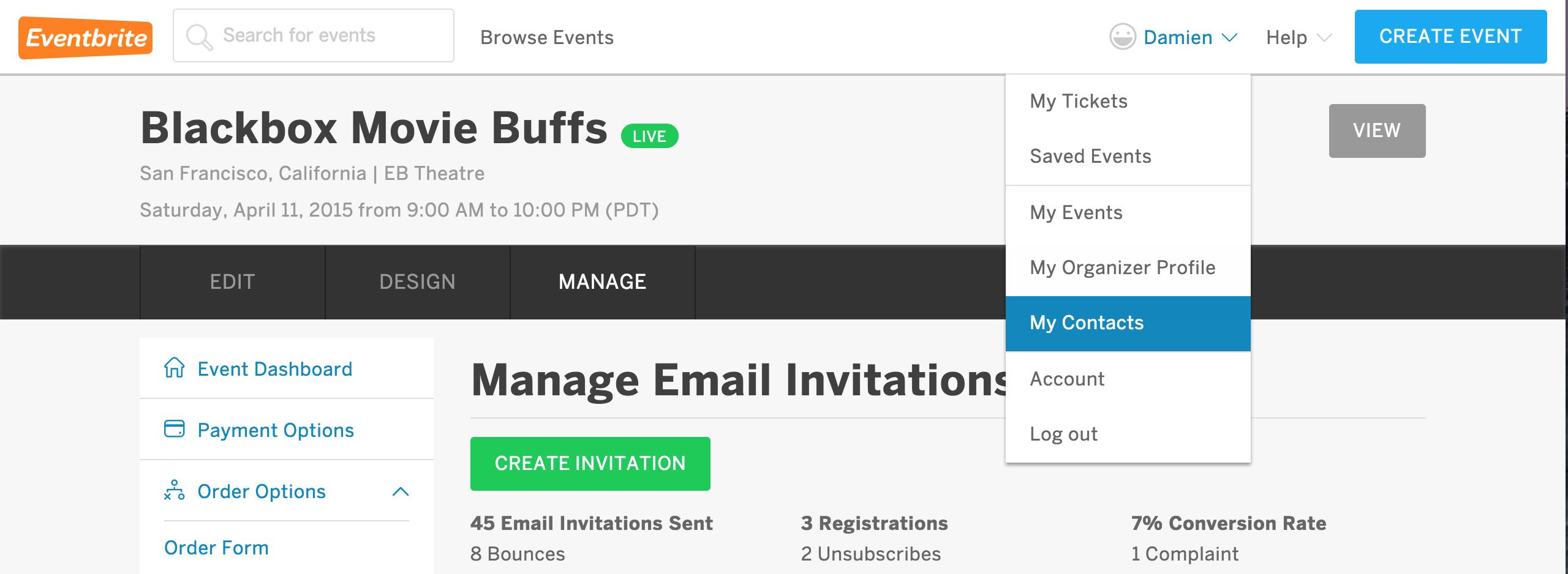 how to delete my eventbrite account