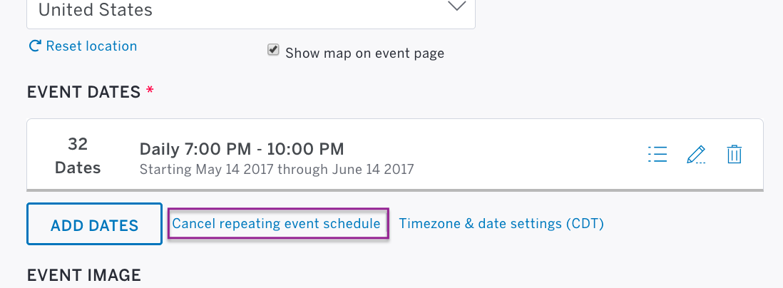 Screenshot of the repeating event schedule enabled under Step 1 of the Edit page.