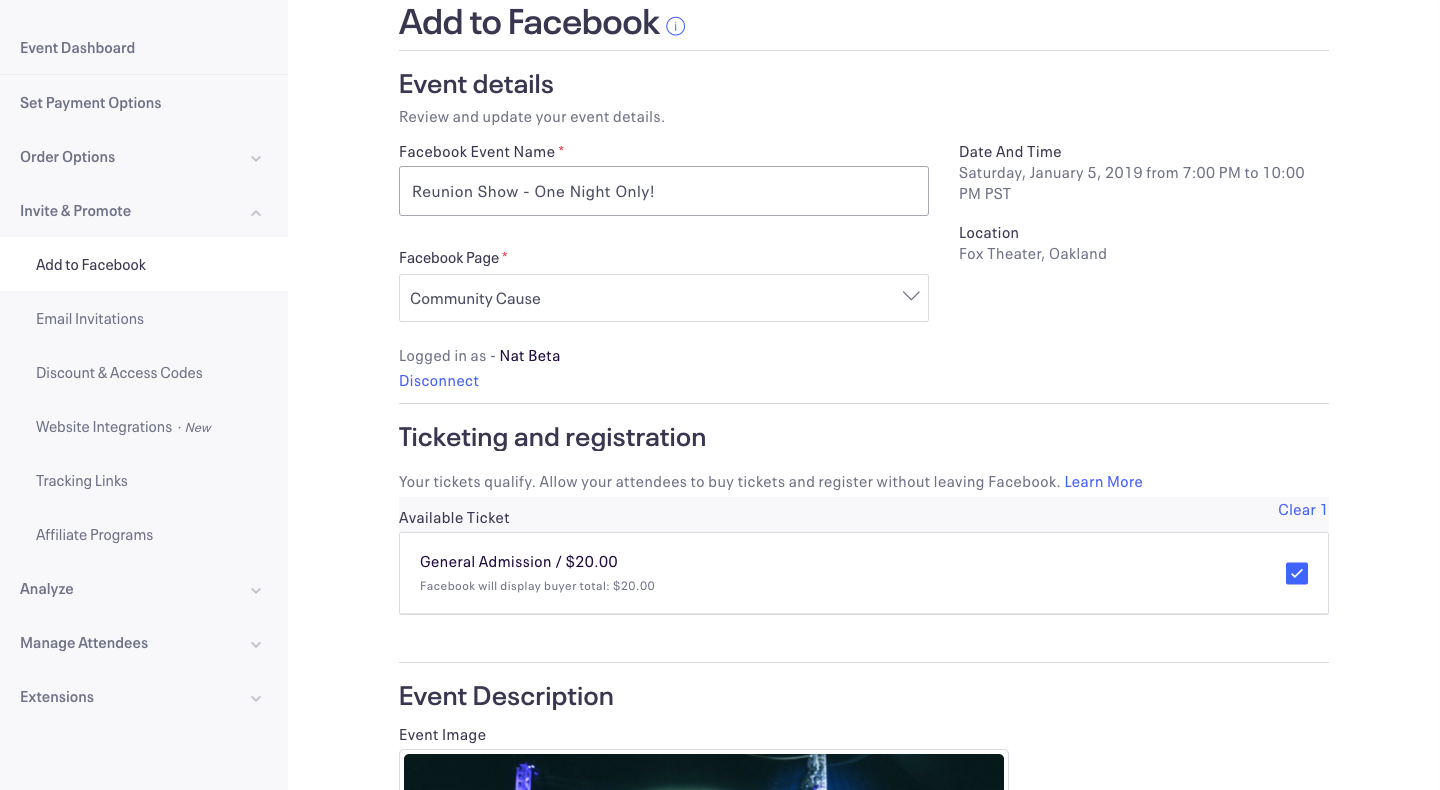 Event details screen with information that'll be used to create your Facebook event.