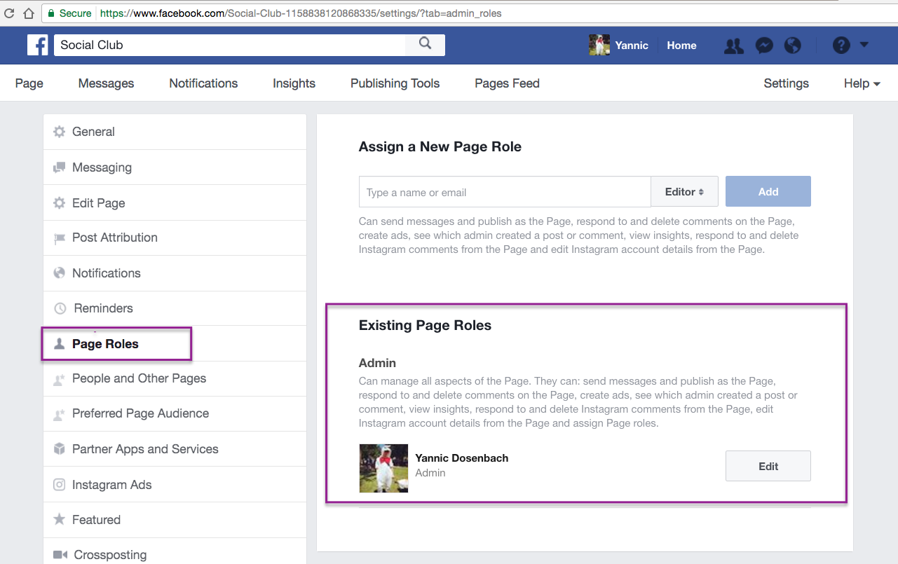 Troubleshooting eventbrites facebook feature eventbrite help center page roles page found under a facebook accounts user settings ccuart Images