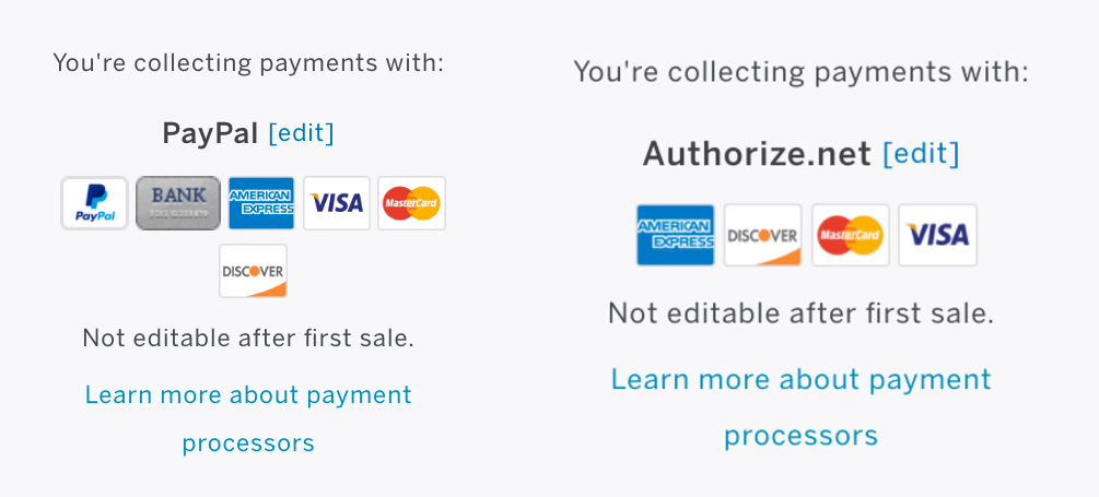 PayPal & Authorize.net selected as payment processors on the Event Dashboard on Manage.