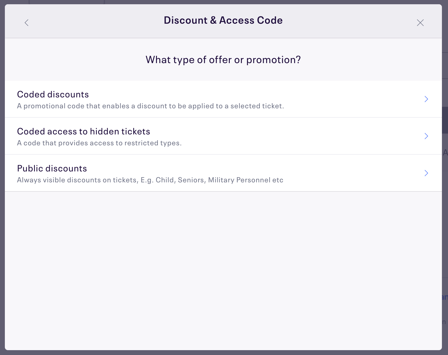 "Coded discounts is the first option under, ""What type of offer or promotion?"""