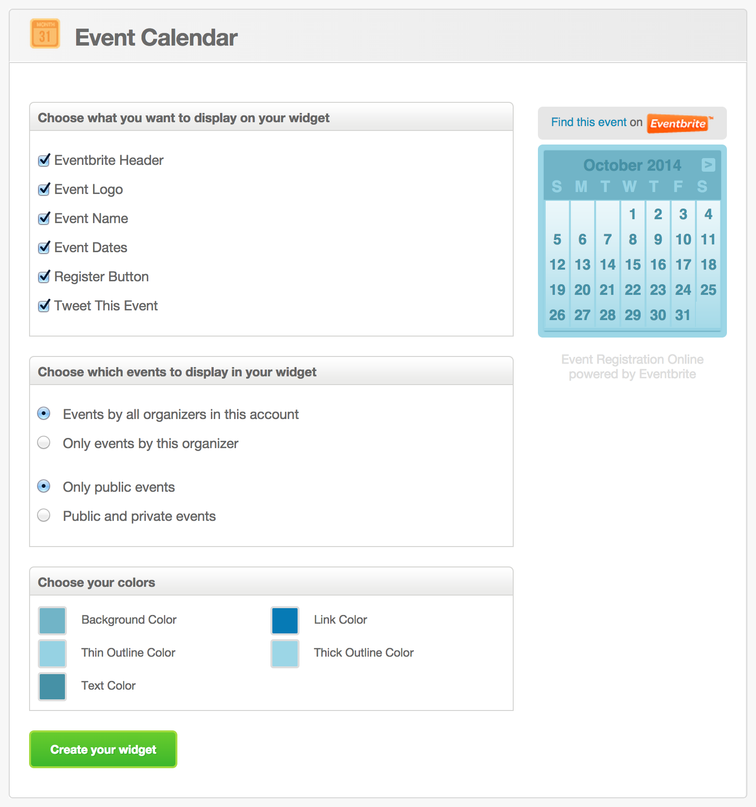 Calendar Website : How to sell eventbrite tickets registrations on your