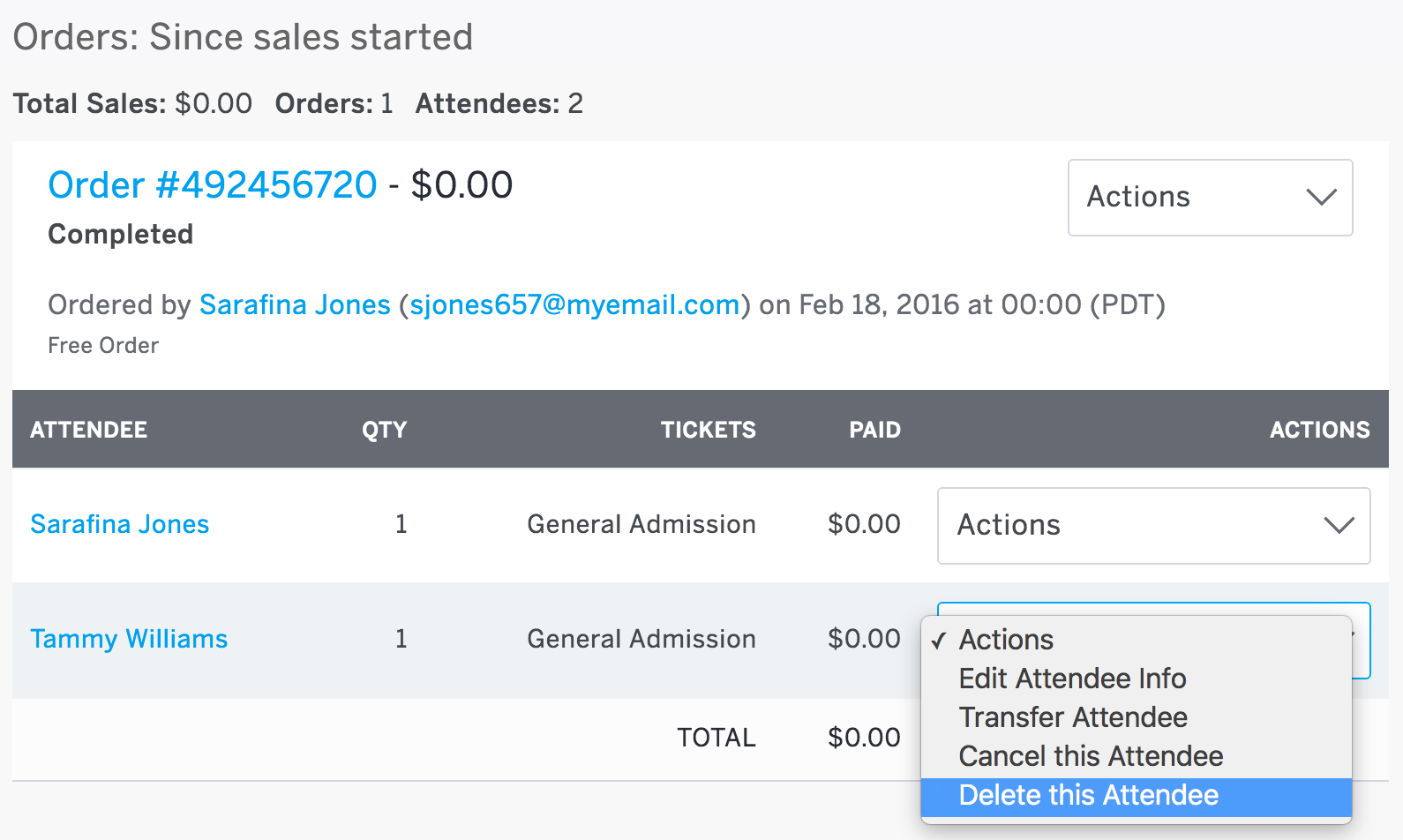 The Actions menu is located to the right of the attendee-level information. Delete this Order is the third actionable option in the drop-down menu, and is the start of the attendee deletion process.