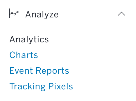 Analyse is the fifth section in the Options Menu, and the Analytics link is first in this section.
