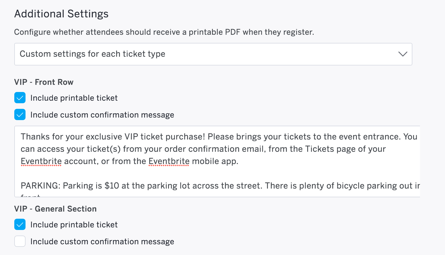 Customize Your Order Confirmation Message For Each Ticket Type
