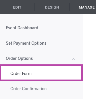 Order Options is the third in the Options Menu, and the Order Form link is first in this section.