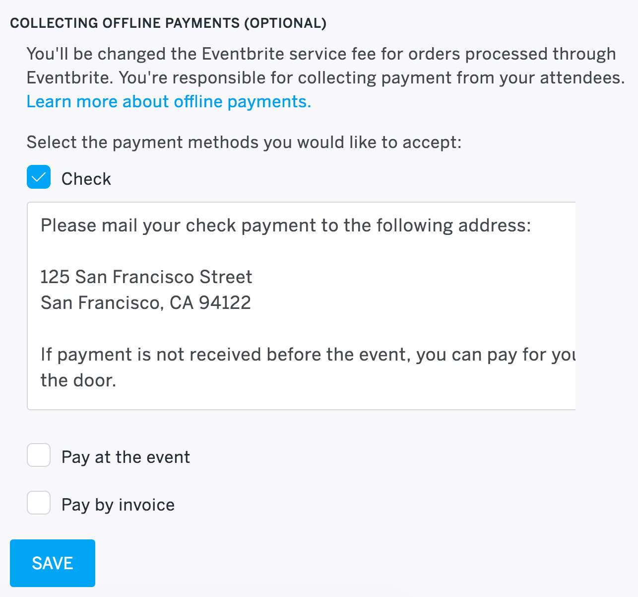 how to accept payments by check invoice or at the event select which offline payment methods you d like to offer